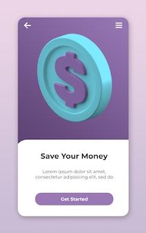 Renderização da interface do usuário do ícone da moeda 3d isolada
