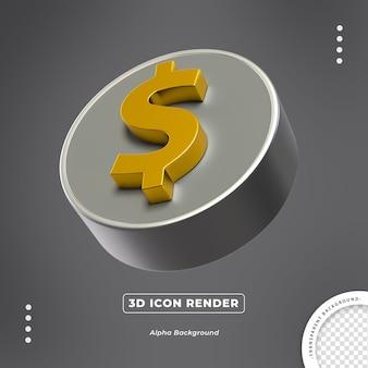 Renderização da vista lateral do ícone da moeda 3d isolada do ouro do dólar