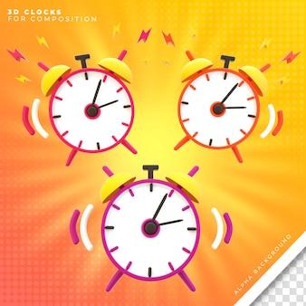 Renderização de alarme 3d de 3 relógios para composição Psd Premium