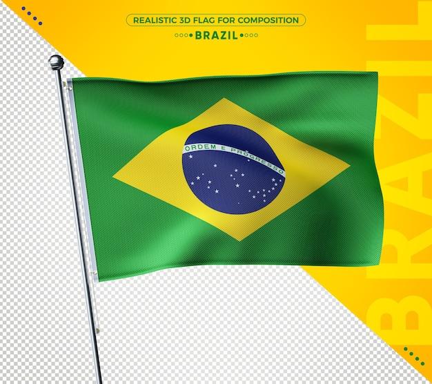 Renderização de bandeira texturizada 3d realista do brasil