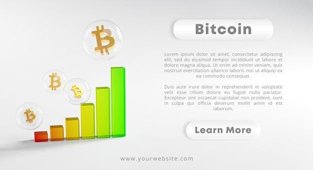 Renderização de bitcoin de bolha de vidro gráfico