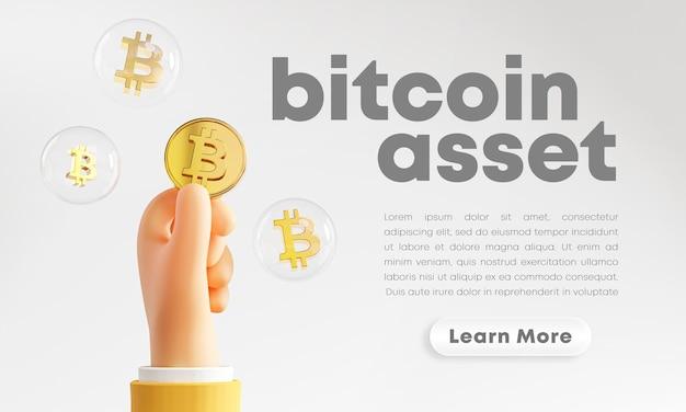 Renderização de bolha de bitcoin segurando uma linda mão