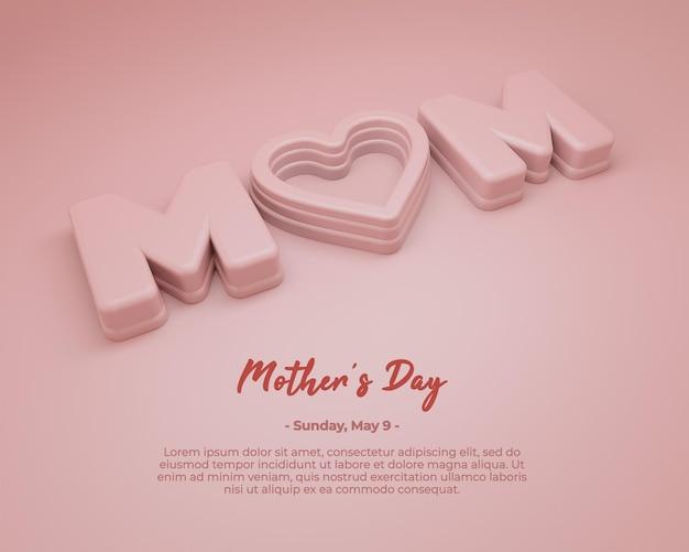 Renderização de cartão de felicitações em 3d para o dia das mães