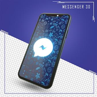 Renderização de celular com ícone do facebook messenger
