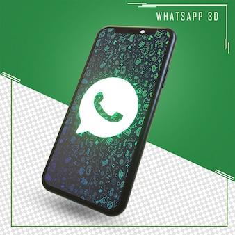 Renderização de celular com ícone do whatsapp