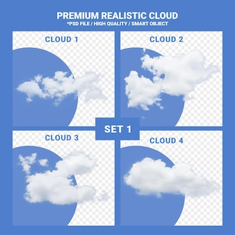 Renderização de conjunto realista de nuvem branca