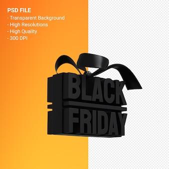 Renderização de design 3d black friday sale para promoção de venda com arco e fita isolados