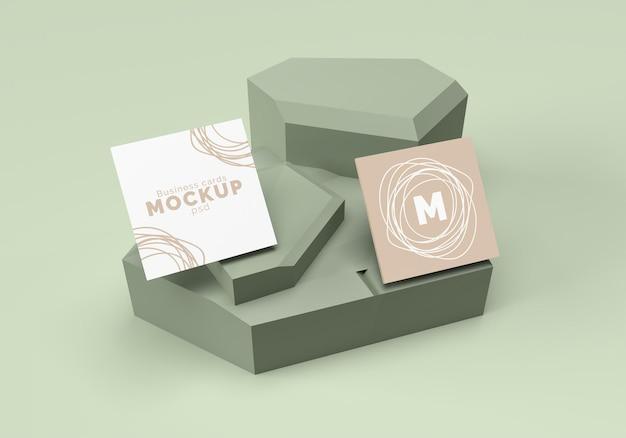 Renderização de design de maquete de cartões de visita quadrada