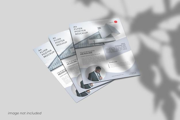 Renderização de design de maquete de folheto a4