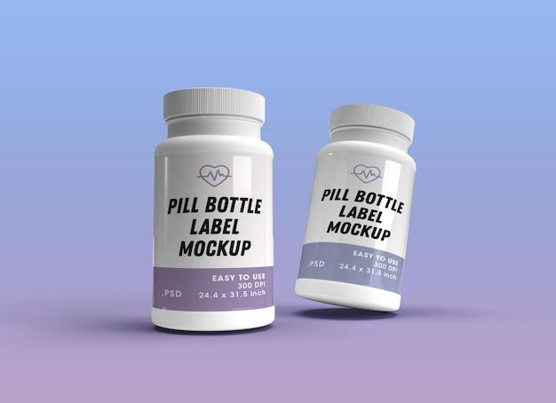 Renderização de design de maquete de frascos de comprimidos