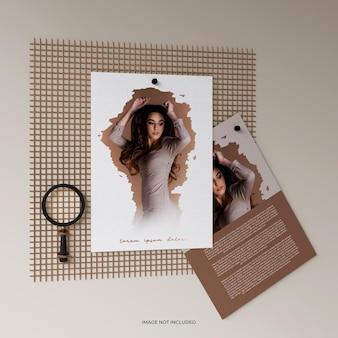 Renderização de design de maquete de papel a4 de luxo