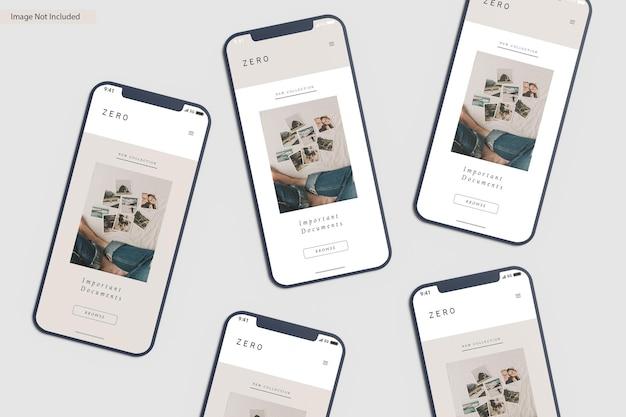 Renderização de design de maquete de tela de smartphone