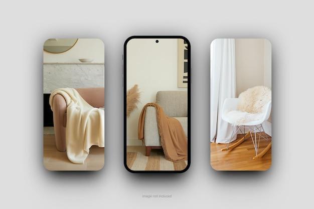 Renderização de design minimalista de maquete de tela móvel Psd Premium
