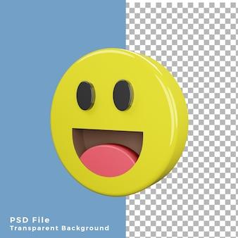 Renderização de emoticon risonho de ícone 3d de alta qualidade