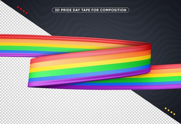 Renderização de fita horizontal 3d colorida do dia do orgulho