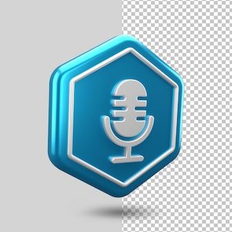 Renderização de ícone 3d de microfone de voz
