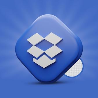Renderização de ícone 3d do dropbox