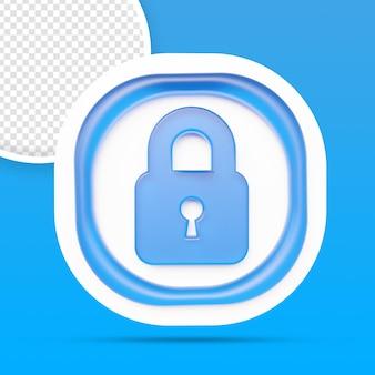 Renderização de ícone de cadeado de segurança isolada
