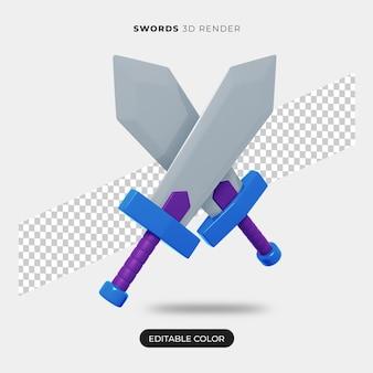 Renderização de ícone de espadas 3d isolada