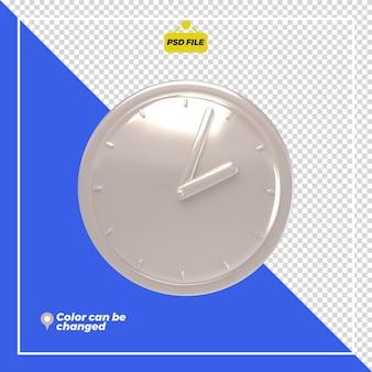 Renderização de ícone de relógio brilhante 3d isolada