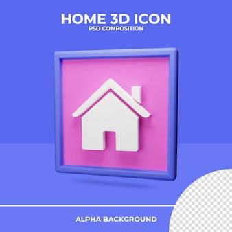 Renderização de ícone de renderização em 3d inicial