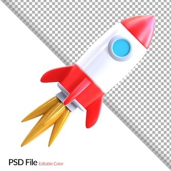 Renderização de ilustração de foguete 3d simples