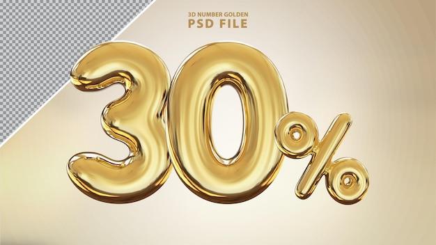 Renderização de luxo 3d dourada com 30 por cento de número