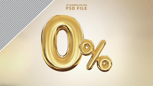 Renderização de luxo 3d dourada número 0 por cento