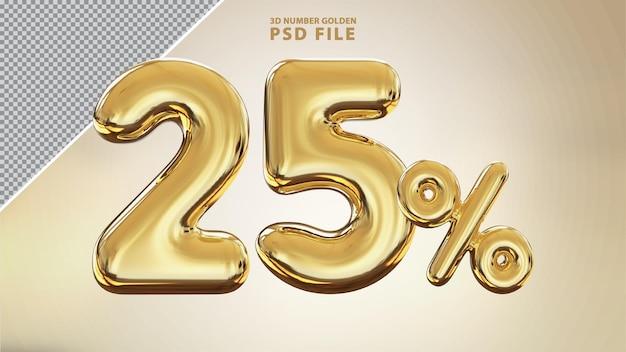 Renderização de luxo 3d dourada número 25 por cento