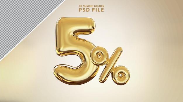 Renderização de luxo 3d dourada número 5 por cento