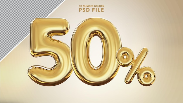 Renderização de luxo 3d dourada número 50 por cento