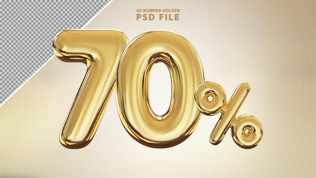 Renderização de luxo 3d dourada número 70 por cento