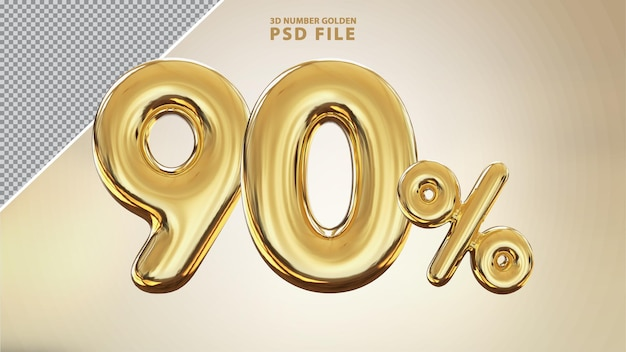 Renderização de luxo 3d dourada número 90 por cento