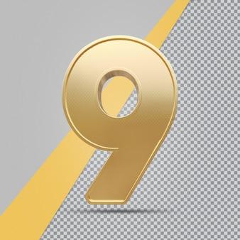 Renderização de luxo 3d gold number