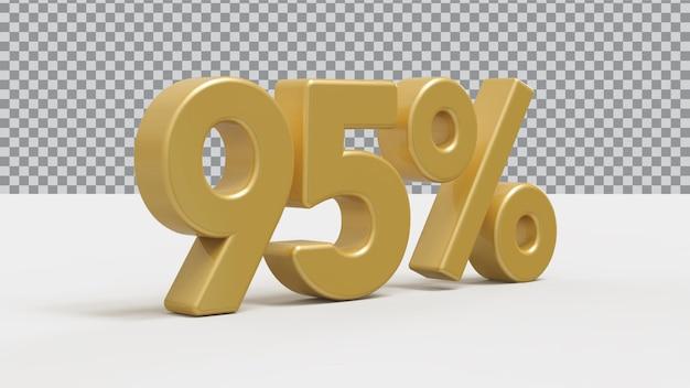 Renderização de luxo de ouro de 95 por cento número 3d