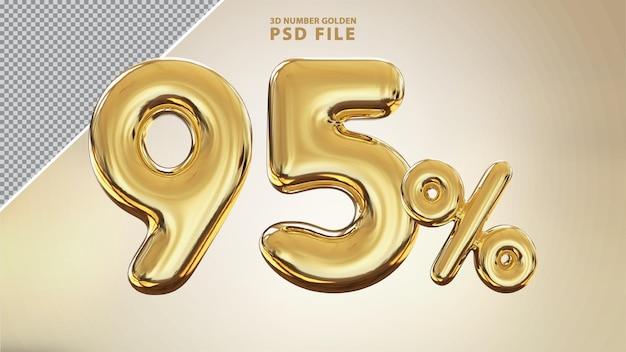 Renderização de luxo dourada em 3d de 95 por cento