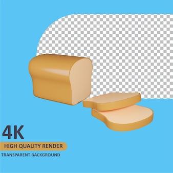 Renderização de modelo 3d pão branco
