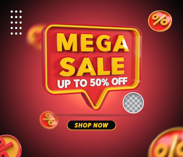 Renderização de oferta de 50% da mega venda em 3d