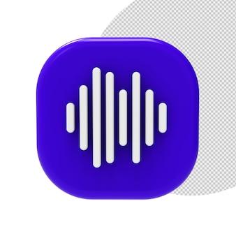 Renderização de ondas sonoras de ícone 3d isolada
