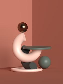 Renderização de pódio de geometria de cena abstrata