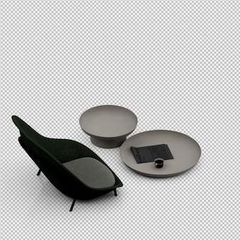 Renderização de poltrona 3d isométrica
