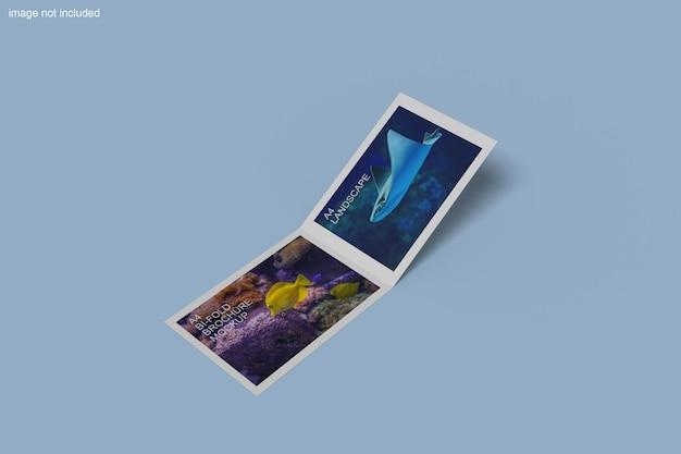 Renderização de projeto de maquete de brochura dupla