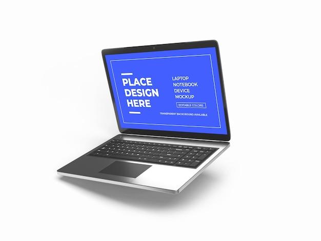 Renderização de projeto de maquete de dispositivo laptop