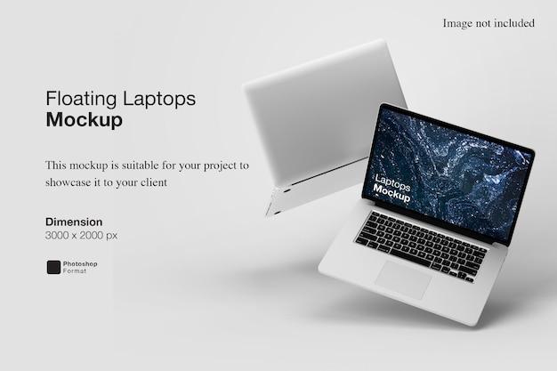 Renderização de projeto de maquete de laptops flutuantes