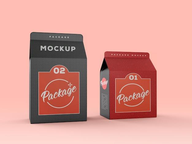 Renderização de projeto de maquete de pacote kraft snack
