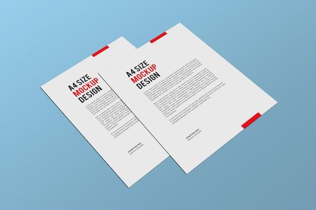Renderização de projeto de maquete de páginas a4