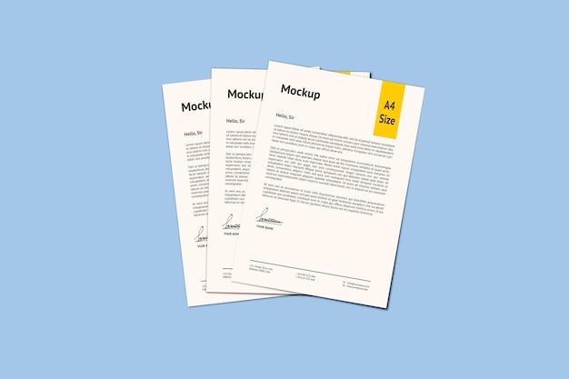 Renderização de projeto de maquete de papel três a4 isolada