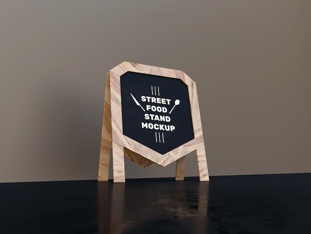 Renderização de projeto de maquete de placa de madeira