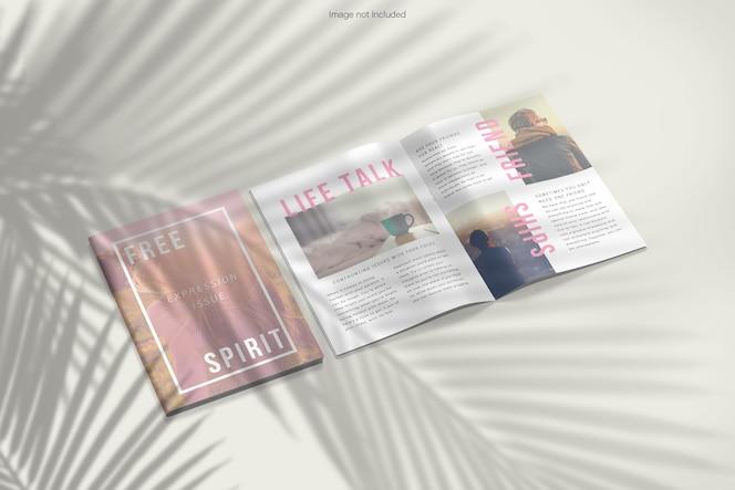 Renderização de projeto de maquete de revista aberta e fechada