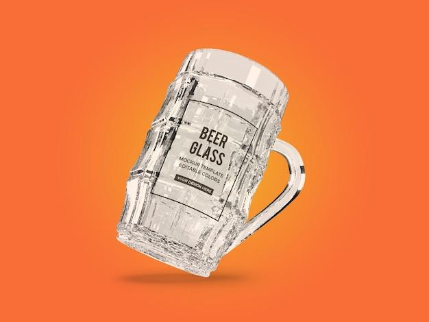Renderização de projeto de maquete de vidro de cerveja